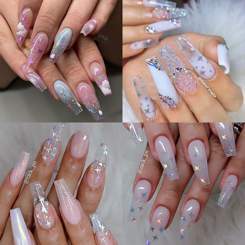 3g Nail Art Decoration Symphony Laser Sequins Four-pointed Star Heterosexual Sequins Purple Bright Glitter Powder Tool Manicure