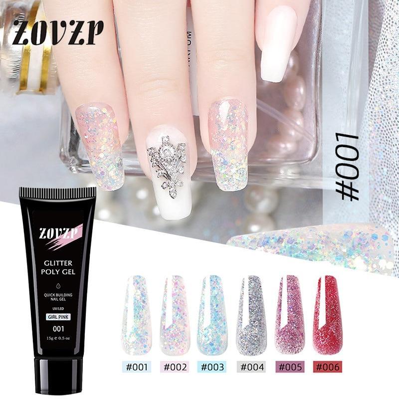 ZOVZP New Flash Nail Art Powder Crystal Extension Nail Gel Painless Quick Drying Nail Gel 6 Color Extension Nail Polish Gel Set
