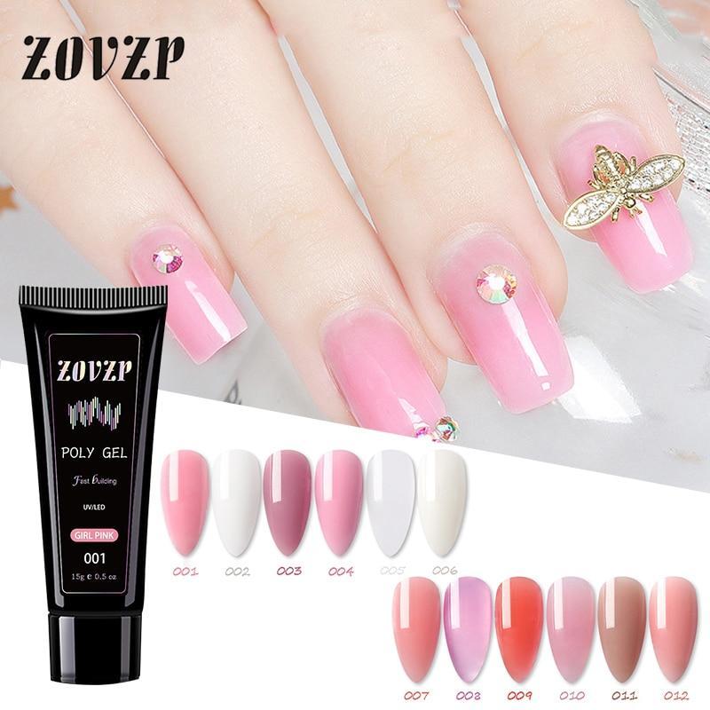 ZOVZP Nail Gel Crystal Extender Nail Gel Nail Art Quick  Painless Nail Polish Set 12 Color Crystal False Nail Polish Nail Glue