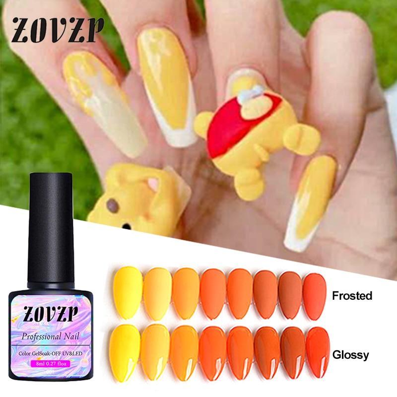 ZOVZP Nail-gel 2020 New Nail Beauty Polish Honey Pumpkin Series UV Gel Solid Color 8 Colors Nail-gel Set Nail Art Gel Polish