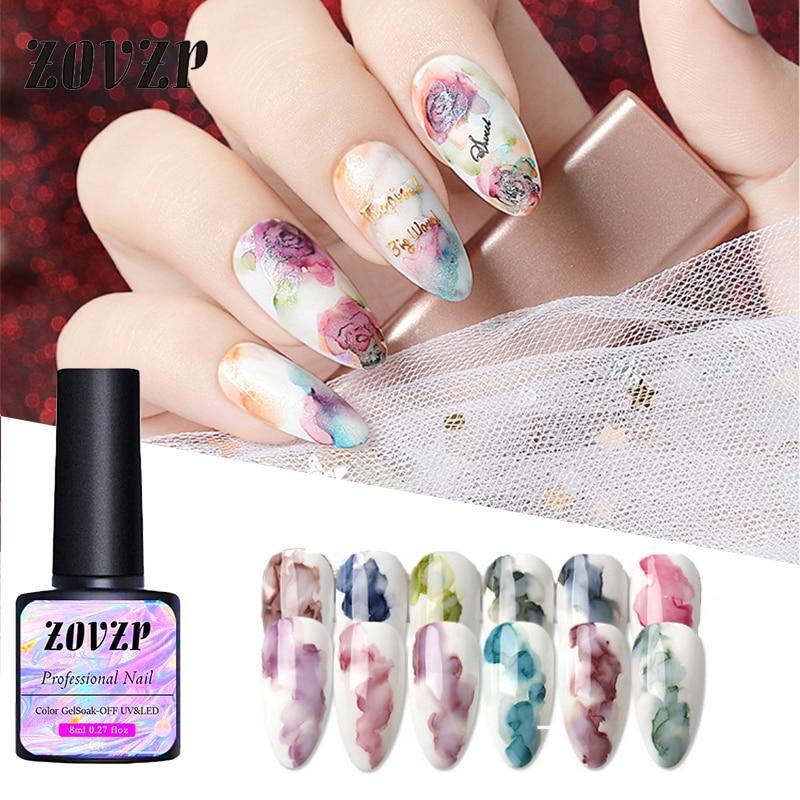 ZOVZP New Nail Polish Morandi Blooming Nail Art Ink Marble Halo Dye Nail Polish Set Japanese Style Special For Nail Art 8ml