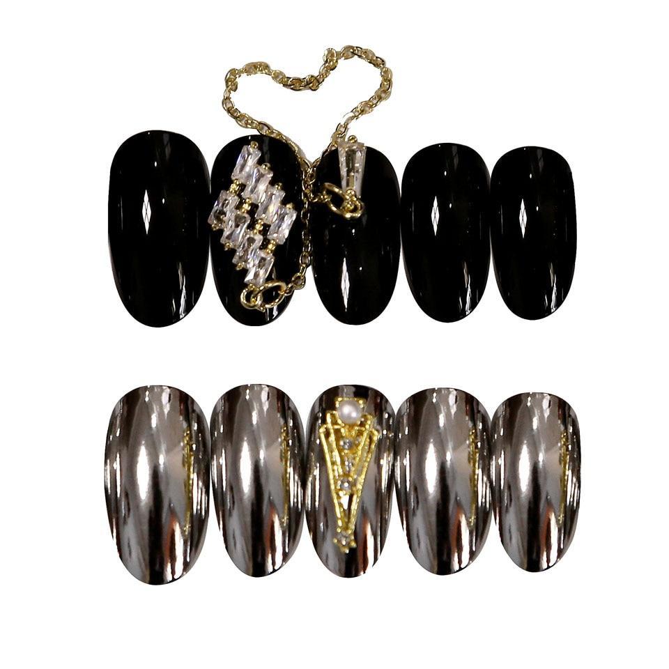 24pcs/set of high quality acrylic fake nails color changing mirror fake nails black super long gloss/matte nails artificial nail