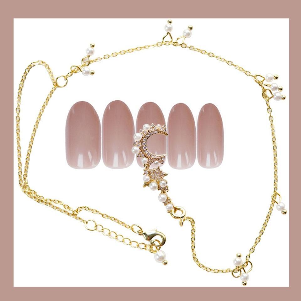 24pcs/set of high-end fake nails, black polished star and moon bracelet, fake nails, black super long nails, artificial nails
