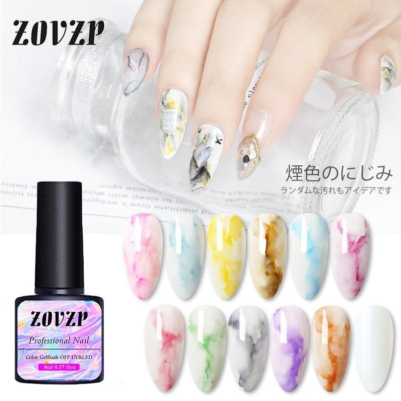 ZOVZP Nail Polish Smoke Color Halo Dye Quick Drying Japanese Marble Gradient Nail Art Glue 12 Color Ink Halo Dye Nail Polish Set