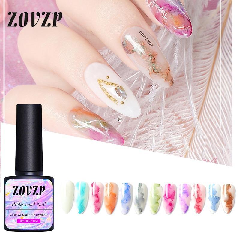 ZOVZP Nail Polish Metal Blooming Nail Art Ink Wash Color Glue Phototherapy Gel Halo Dye Nail Polish Set Special For Nail Art
